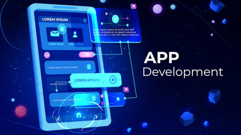 App development banner, adaptive layout application web interface on smartphone touch screen, user software API prototyping, testing, neon glowing background. Cartoon vector illustration, landing page